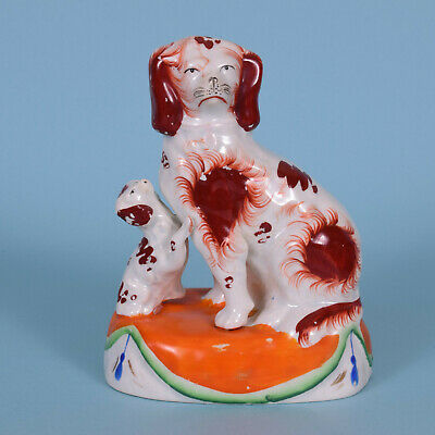 Victorian Staffordshire Spaniel with Puppy, c1845