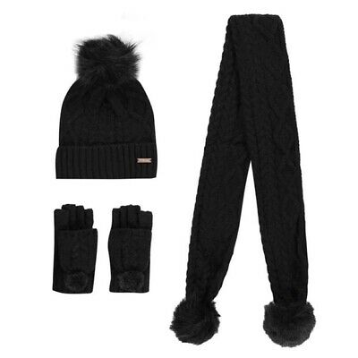 NEW Firetrap 3 Piece Winter Gloves Scarf & Pom Hat Set Childs Boys Girls Onesize