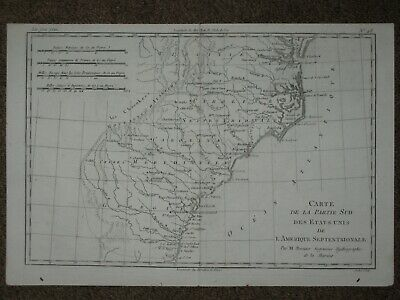 1780 VIRGINIA NORTH SOUTH CAROLINA GEORGIA MAP Rigobert BONNE ORIGINAL ANTIQUE!