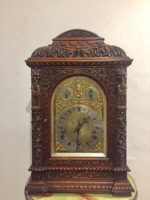 Antique Black Forest Heavily Carved Oak Cased Bracket Clock By W&H 5 Gongs C1880