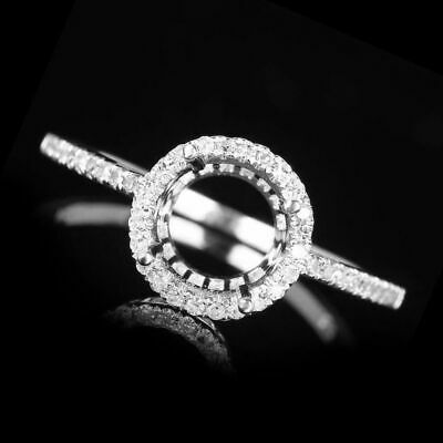Semi Mount Pear 8x6.5mm Pave .2ct Diamonds 14K White Gold Engagement Fine Ring