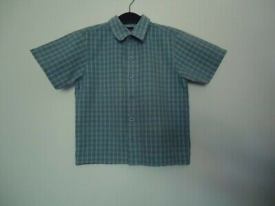 Next boys 2 years smart cotton short sleeve chequered blue / grey buttoned shirt