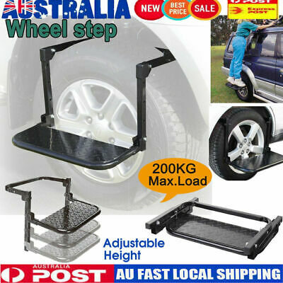 Wheel Step Foldable Lift Stair Truck Car Drive Tyre Ladder 4WD 4X4 Adjustable AU