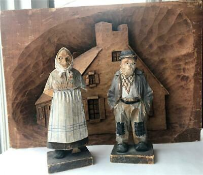 "Early Signed Trygg Wood Carving Old Man & Woman 7 1/2"" 1930s Quebec Folk Art"