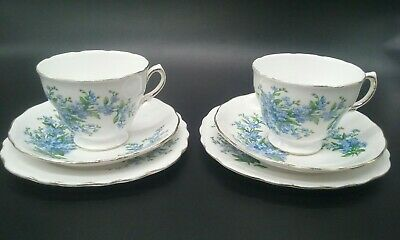 X2 Royal Osborne Forget Me Not Cups Saucers & Side Plates Bone China Blue Flower
