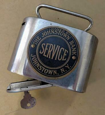 VTG Stainless Bankers Service Corp Johnstown New York Savings Piggy Bank w/ KEY!