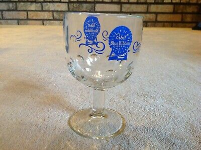 Vintage PABST BLUE RIBBON Beer Dimpled Schooner/ Stemware Beer Drinking Glass