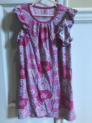 Girls Tea Collection Pink Red Flower Nightgown Pajamas Size 7