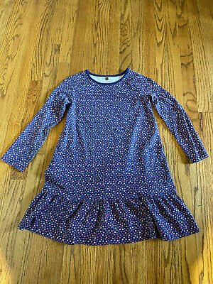 TEA Collection Blue Red White Dot Flower Pattern Ruffled Drop Dress Size 12