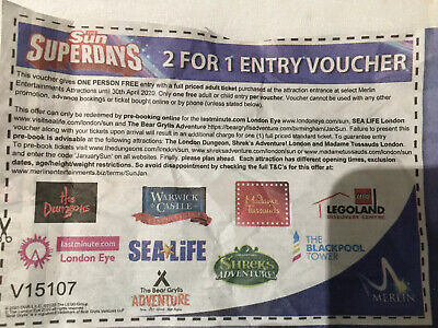 2 For 1 Entry Voucher Madame Tussauds Sea Life Legoland Shrek Dungeons Bear Gryl