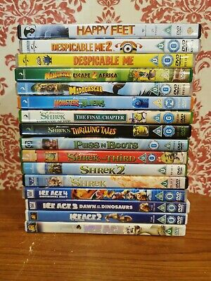 Job Lot Bundle Of 16 Children's DVD's Various Titles  Complete Shrek * Ice Age *