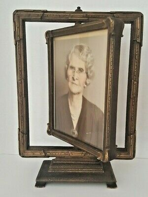 Antique Art Nouveau Swing Swivel Table Picture Frame With Photo - Glass 2 Sides