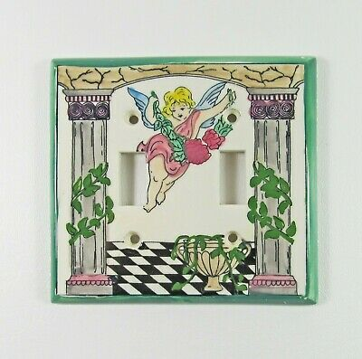 Vintage Hand Painted Cherub Design Porcelain Double Light Switch Plate Cover