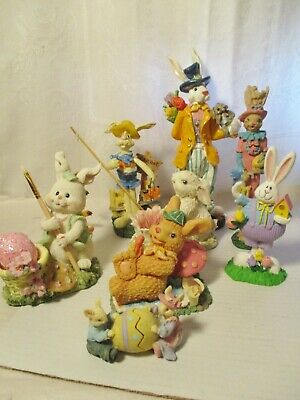 Lot Of Eight Assorted Resin Easter Figures / Rabbits & Bunnies