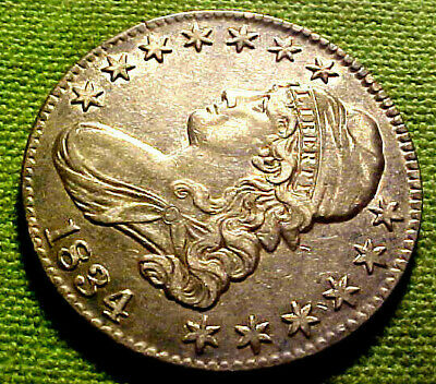 1834 Capped Bust Half Dollar 50 Cents 50c ~ Bright Sharp Details CH AU Coin 62PS