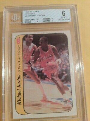 1986-87 Fleer Sticker MICHAEL JORDAN #8 RC Rookie BGS 6    Chicago Bulls