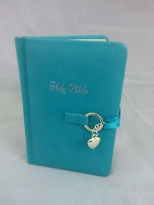 Holy Bible New King James Version Girls Teal Ribbon Silver Heart Charm Small