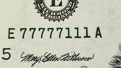 Lucky 77777111 Super Fancy Repeating One Dollar Bill 77777111 U.S. Currency $1