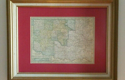ANTIQUE Framed  1897 Oklahoma & Indian Territory Map Certificate Authentication
