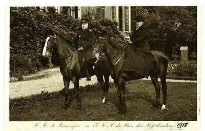 Old PC QUEEN OF THE NETHERLANDS on horse SIDESADDLE with spouse approx. 1915