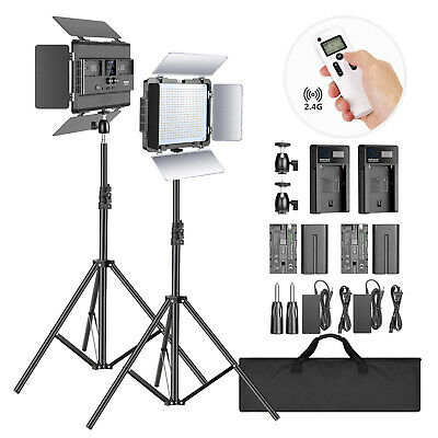 Neewer 2-Pack 2.4G LED Light with 2M Stand Bi-color 600 SMD Video Lighting Kit