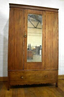 Antique vintage carved mirror door wardrobe