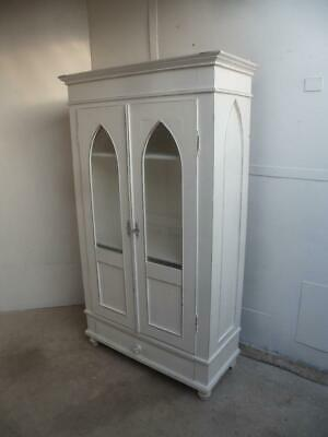 A Beautifully Painted Victorian White Antique/Old Pine Gothic Cabinet/Dresser