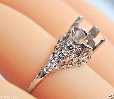 Antique Vintage Art Deco Mounting Setting Hold 6-8MM 14K White Gold Ring Sz 6.5