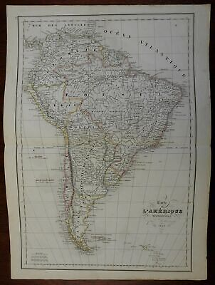 South American continent Peru Brazil Columbia 1848 engraved map Delamarche