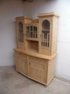 An Art Deco 1930s Antique/Old Pine Bow Fronted Kitchen Dresser To Paint/Wax