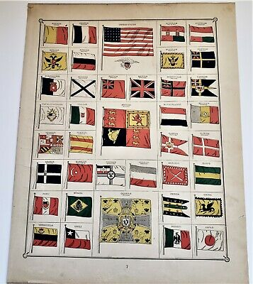Original 1883 Color Page Of World Flags  From Crams  Atlas Of The World