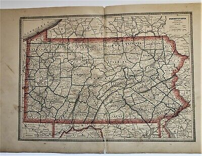 Original 1883 Color  Map Of Pennsylvania  From Crams  Atlas Of The World