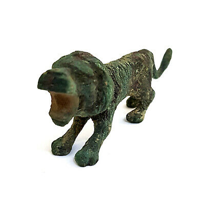 Bronze Egyptian  Antique Lion Figurine Hieroglyphic Ancient Sacred Animal Statue