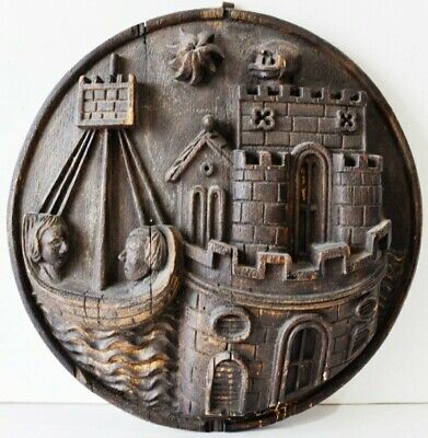 German Wooden Plaque Boat And Castle black forest ?