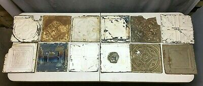 "12 Antique 12"" Sq. Tin metal Ceiling RePurpose Crafts Art Projects Vtg 154-20B"