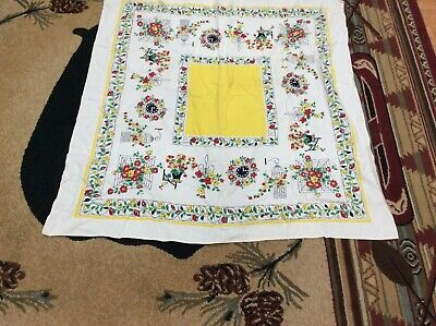 """Cute Vintage Linen Tablecloth Yellow Red Flowers Birdcage Clock 44"""" Square"""