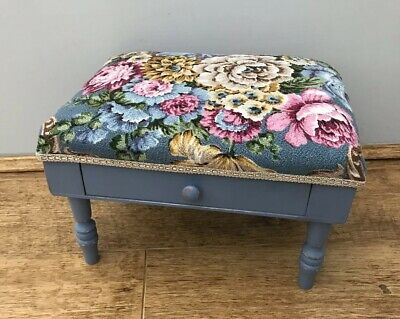 Vintage Small Wooden Painted Foot Stool With Drawer & Floral Fabric Padded Top