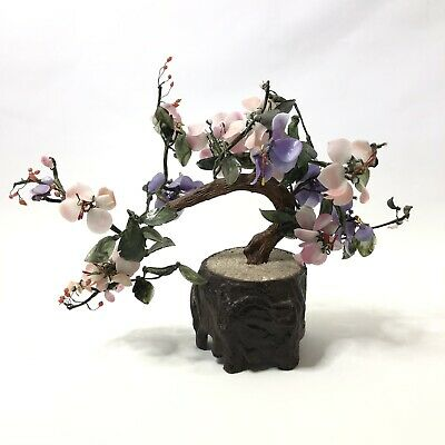 Asian Vintage Agate Art Glass Flower Arrangement in Resin Base Bonsai Tree