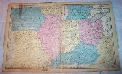 1852 Western United States Map Iowa Missouri Illinois Kentucky Ohio Virginia