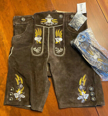 Lederhosen4U German Hans Lederhosen Heavy Brown Suede Wheat Leather 48 EU 32 US