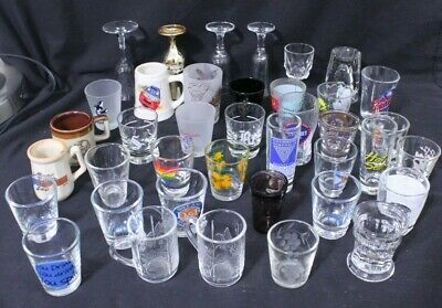 Mixed Lot of 39 Shot Glasses and Drinkware, Vintage, Plain & Collectibles