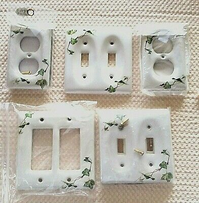 5 porcelain switch plate covers Ivy Pattern White Green Vintage by Liette
