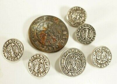 Lot of 8 Large Silvertone Nostra Es Devs Spes METAL Buttons God is our Hope