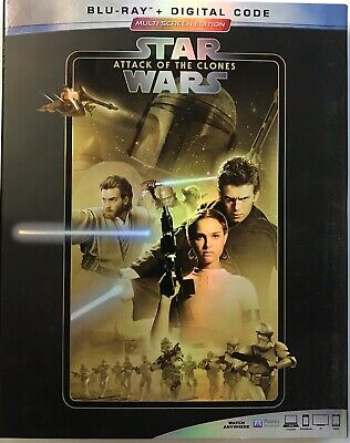 STAR WARS: Attack Of The Clones (Blu-Ray+Digital) NEW!! w/Slipcover