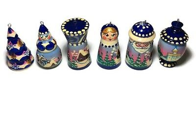 6 Vintage Russian Miniature Wooden Christmas Tree Ornaments Hand Painted