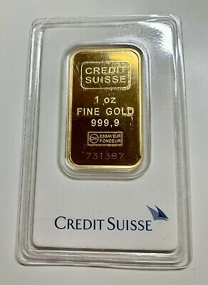1 Oz Credit Suisse 999.9 Gold Bar Bullion #731387 With Assay Certificate