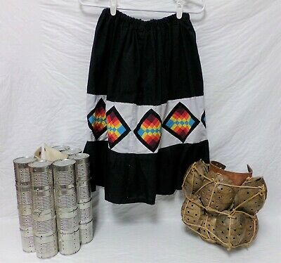 Native American Traditional Seminole Patchwork Women's Black Skirt Size Large