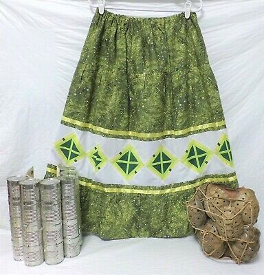 Native American Traditional Seminole Women's Patchwork Skirt Green Size XL