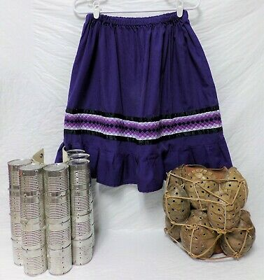 Native American Traditional Seminole Women's Patchwork Feather Purple Skirt L