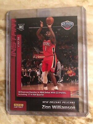 Zion Williamson 2019-20 Panini Instant Nba #76 (Rc) Nba Debut With 22 Points